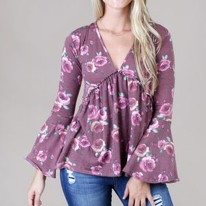 Altar'd State Brisk Fall Floral Bell Sleeve Top M✨